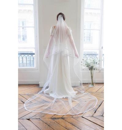 Accueil Voile de mariée - long - bordé d'un biais de satin