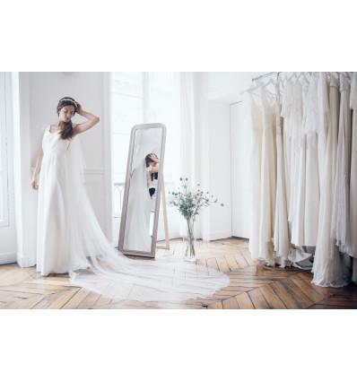 ACCESSOIRES Très long voile de mariée - festonné avec rabat - 3m