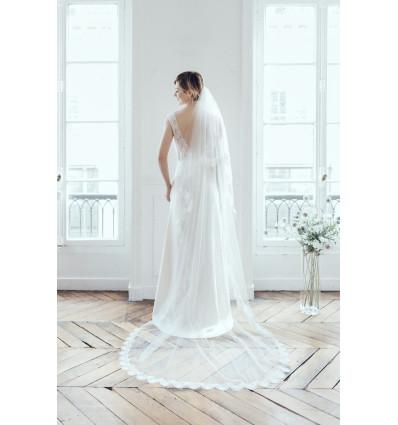 Voiles Voile de mariée bordé de dentelle écailles
